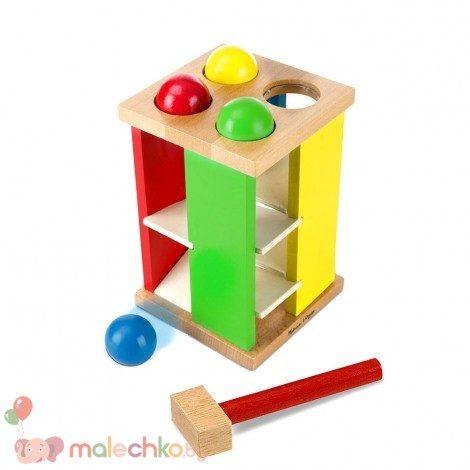 Дървена кула с топчета и чук Melissa&Doug