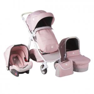 Комбинирана бебешка количка 3в1 Kika Boo UGO Pink