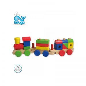 Дървен влак с кубчета Beluga