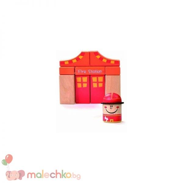 Дървена играчка пожарна Beluga