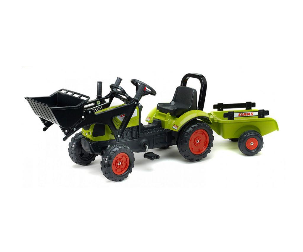 Детски трактор с педали, ремарке и гребло Falk Claas