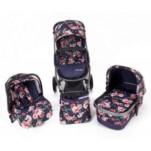 Комбинирана бебешка количка 3в1 Kika Boo Leilani Flowers