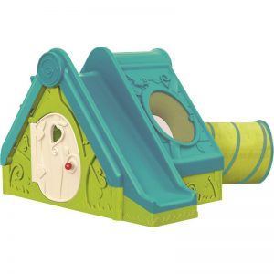 Пластмасова къща с пързалка и тунел Keter Funtivity